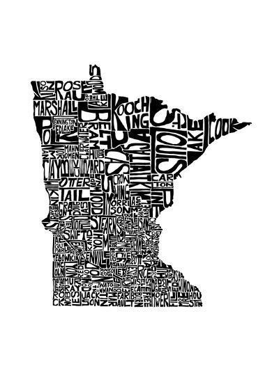 Typographic Minnesota-CAPow-Art Print