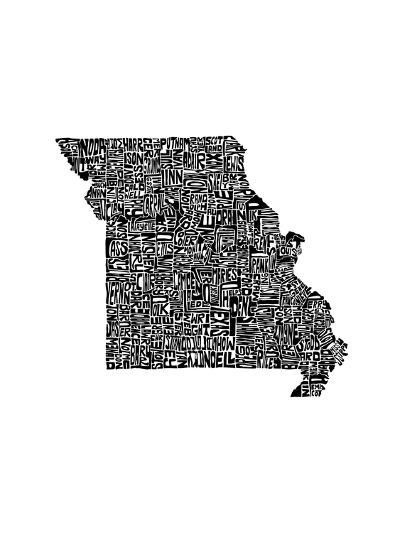Typographic Missouri-CAPow-Art Print