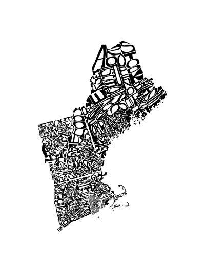 Typographic New England-CAPow-Art Print