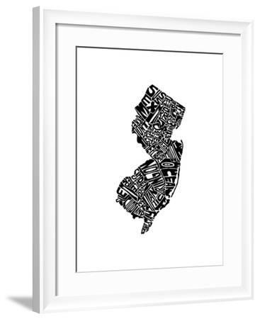 Typographic New Jersey-CAPow-Framed Art Print