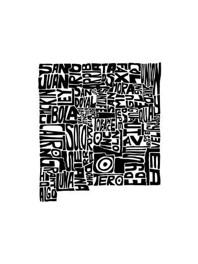 Typographic New Mexico-CAPow-Art Print