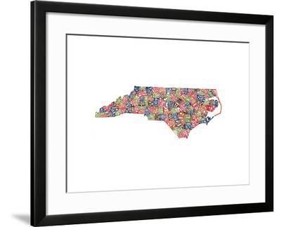 Typographic North Carolina Harvest-CAPow-Framed Art Print