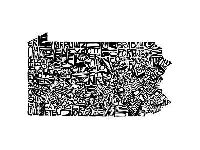 Typographic Pennsylvania-CAPow-Art Print