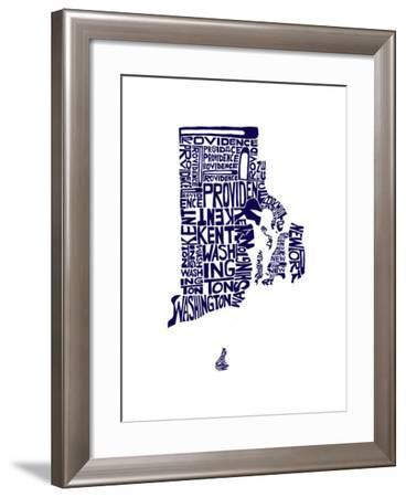 Typographic Rhode Island Navy-CAPow-Framed Art Print