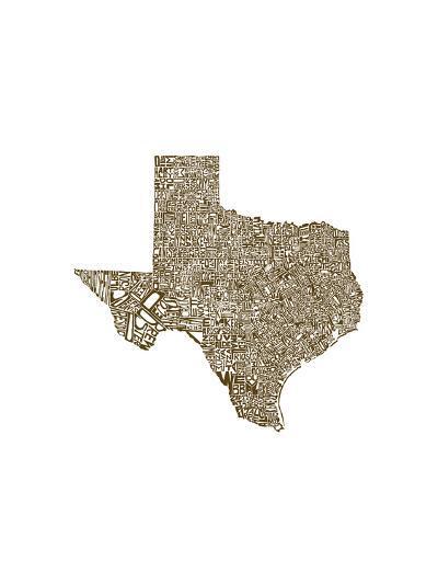Typographic Texas Brown-CAPow-Art Print