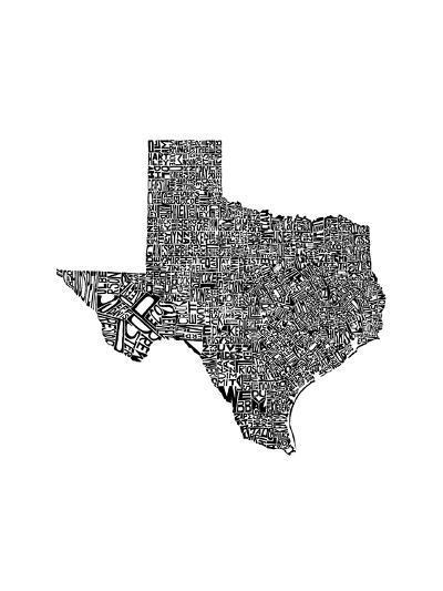 Typographic Texas-CAPow-Art Print
