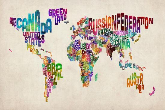 Typographic Text World Map-Michael Tompsett-Art Print