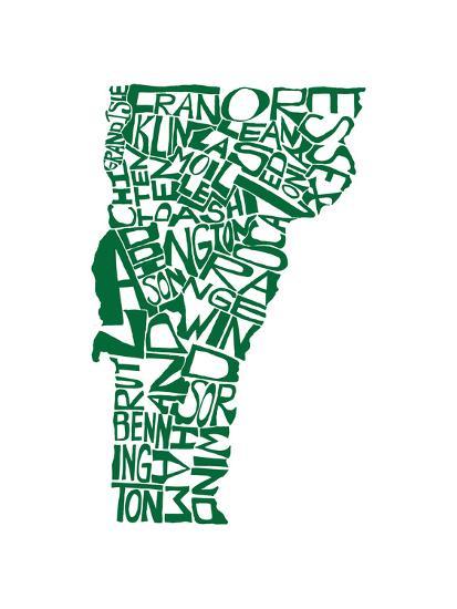 Typographic Vermont Green-CAPow-Art Print