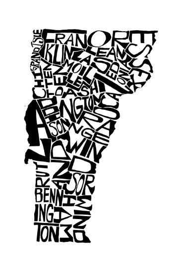 Typographic Vermont-CAPow-Art Print