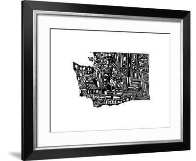 Typographic Washington-CAPow-Framed Art Print
