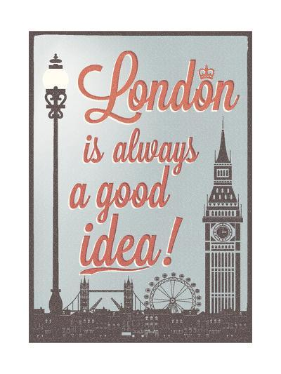 Typographical Retro Style Poster With London Symbols And Landmarks-Melindula-Art Print