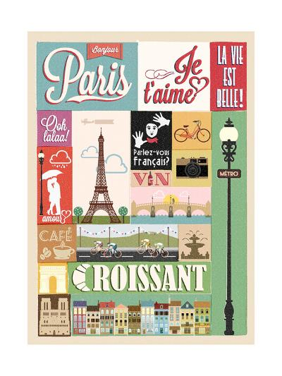 Typographical Retro Style Poster With Paris Symbols And Landmarks-Melindula-Art Print
