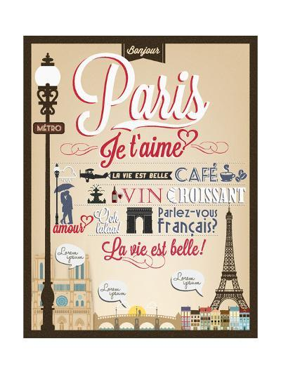 Typographical Retro Style Poster With Paris Symbols And Landmarks-Melindula-Art Print