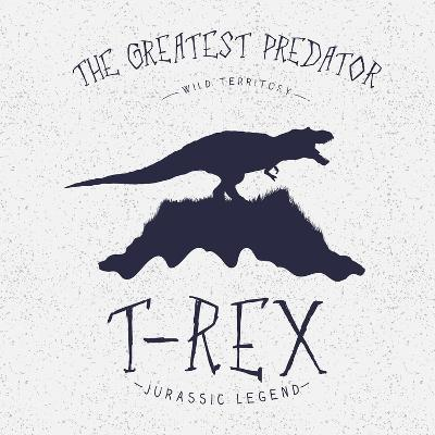 Typography Label.Angry Dinosaur on the Mountain.Print Design for T-Shirts. Vector Illustration-Dimonika-Art Print