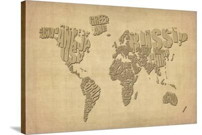 Typography Map of the World Map-Michael Tompsett-Stretched Canvas Print