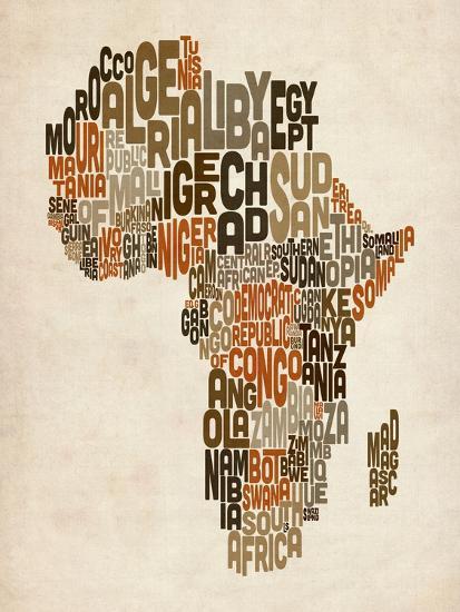 Map Of Africa Art.Typography Text Map Of Africa Art Print By Michael Tompsett Art Com