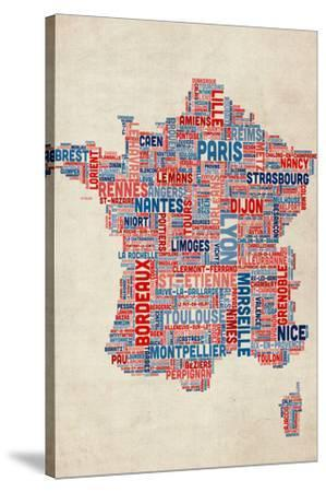 Typography Text Map of France Map-Michael Tompsett-Stretched Canvas Print