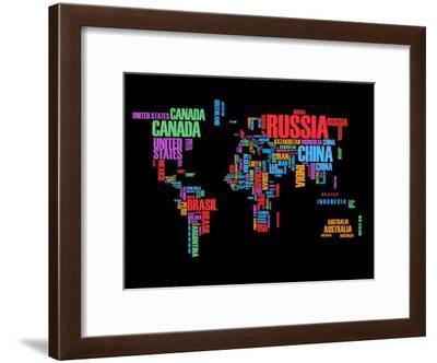 Typography World Map 1-NaxArt-Framed Art Print