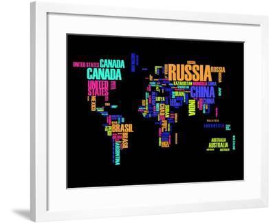 Typography World Map 2-NaxArt-Framed Art Print