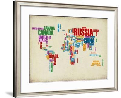 Typography World Map 3-NaxArt-Framed Art Print