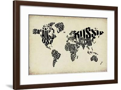 Typography World Map 4-NaxArt-Framed Art Print