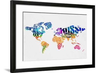 Typography World Map 7-NaxArt-Framed Art Print