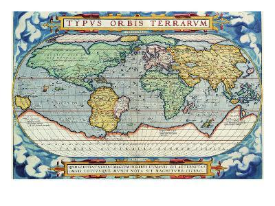 Typus Orbis Terrarum from the Theatre of the World in Apian Projection-Abraham Ortelius-Art Print