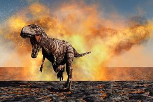 Tyrannosaurus Rex Escaping from a Violent Fire Storm