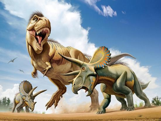 Tyrannosaurus Rex Fighting with Two Triceratops--Art Print