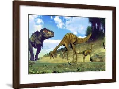 Tyrannosaurus Rex Surprising a Herd of Gallimimus Dinosaurs-Stocktrek Images-Framed Art Print