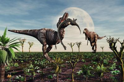 Tyrannosaurus Rex with a Freshly Killed Young Sauropod Dinosaur--Art Print