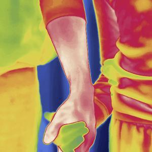 Thermal Image of a Woman and Girl Holding Hands by Tyrone Turner