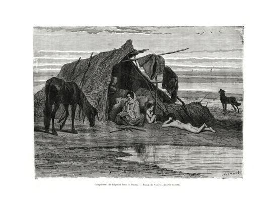 Tziganes Camping in the Puszta, 1886--Giclee Print