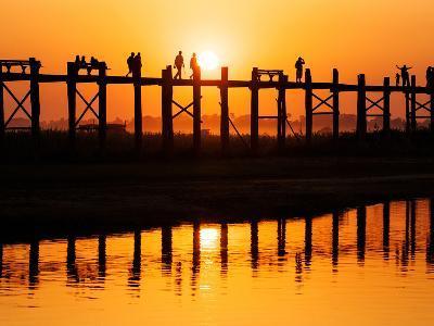 U Bein Bridge (Longest Teak Bridge in the World) at Sunset , Amarapura, Mandalay, Burma (Myanmar)-Nadia Isakova-Photographic Print
