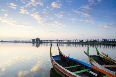 U Bein Teak Bridge and the Taungthaman Lake Near Amarapura, Mandalay, Myanmar (Burma)-Alex Robinson-Photographic Print