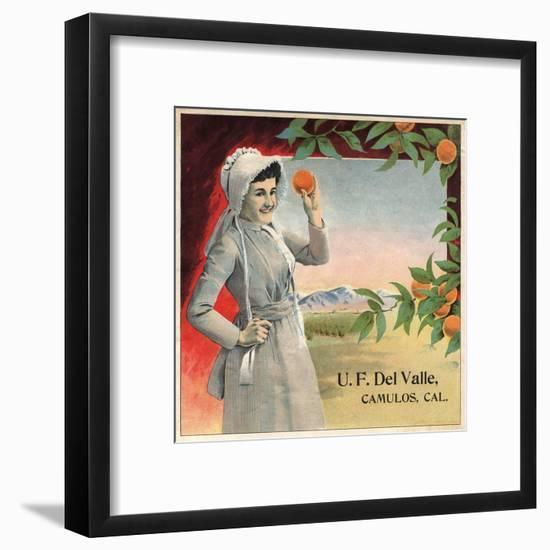 U.F. Del Valle Brand - Camulos, California - Citrus Crate Label-Lantern Press-Framed Art Print