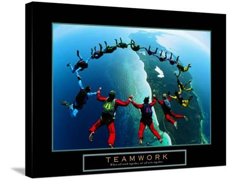 Teamwork: Skydivers II--Stretched Canvas Print