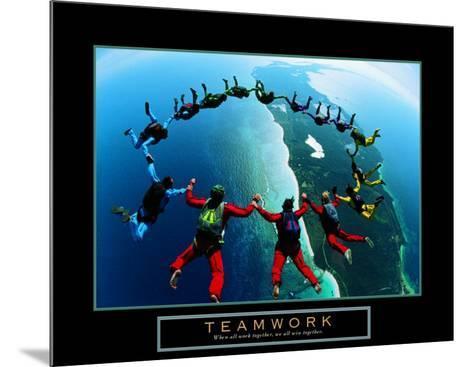 Teamwork: Skydivers II--Mounted Art Print
