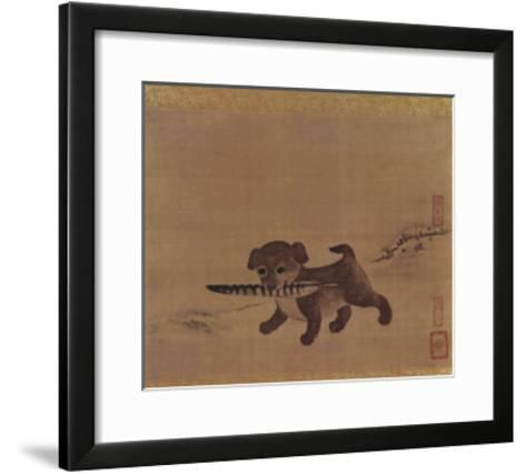 Puppy Carrying a Pheasant Feather--Framed Art Print