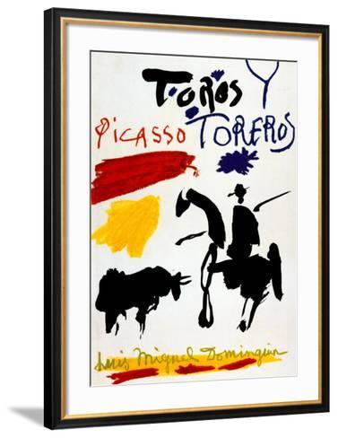 Bull with Bullfighter-Pablo Picasso-Framed Art Print
