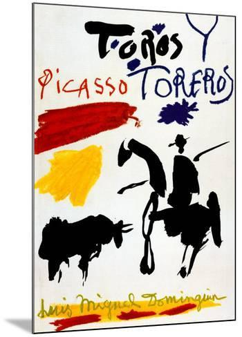 Bull with Bullfighter-Pablo Picasso-Mounted Art Print