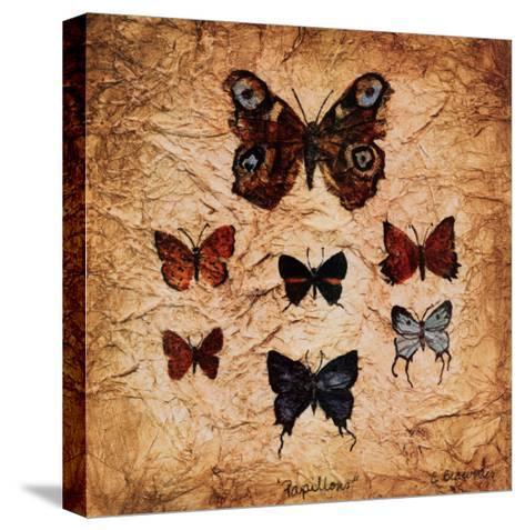 Papillons II-Claudette Beauvais-Stretched Canvas Print