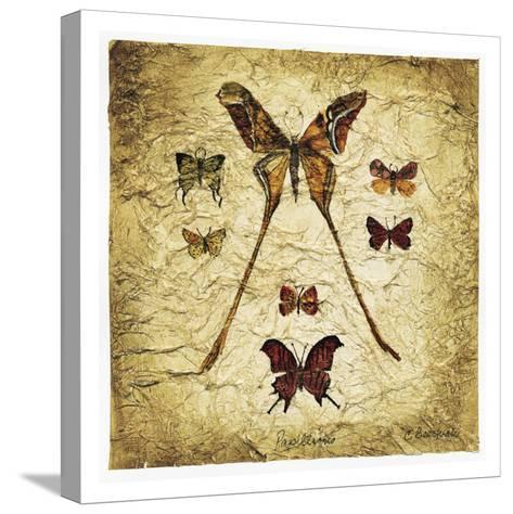 Papillons I V-Claudette Beauvais-Stretched Canvas Print