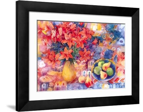 Fruit with Tiger Lilies-Mae Book-Framed Art Print