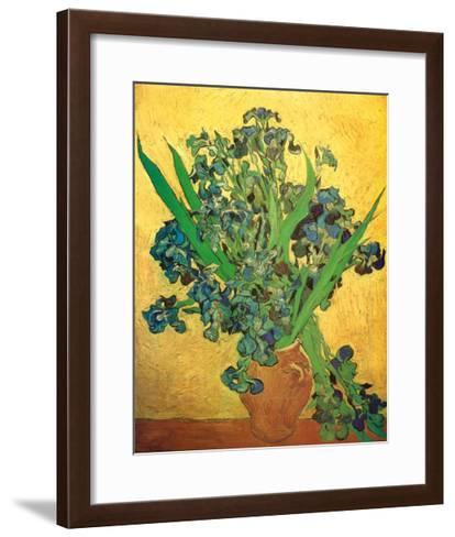 Vase of Irises Against a Yellow Background, c.1890-Vincent van Gogh-Framed Art Print
