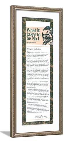 What It Takes to Be Number One--Framed Art Print
