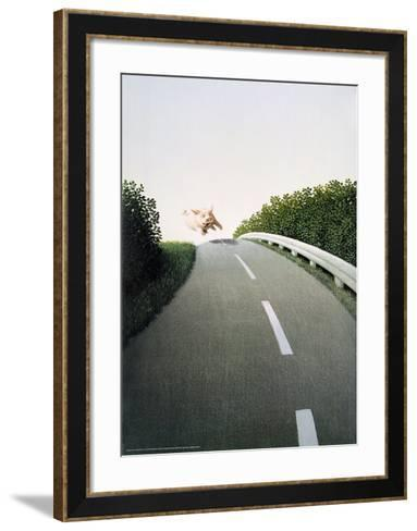 Autobahn Pig-Michael Sowa-Framed Art Print