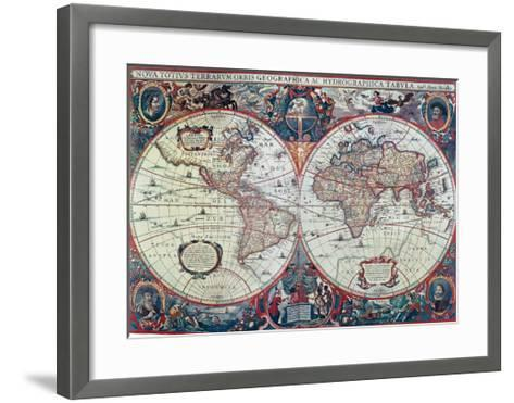 New Earth and Water Map of the Entire World--Framed Art Print