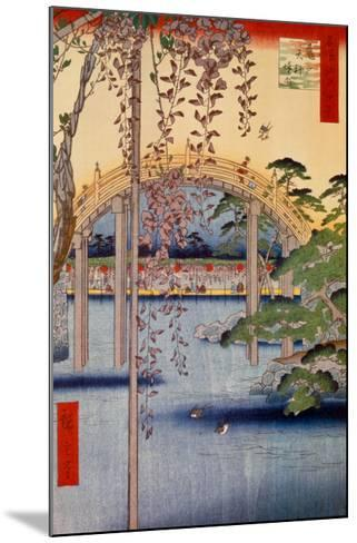 Inside Kameido-Tenjin Shrine-Ando Hiroshige-Mounted Art Print
