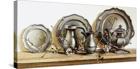 Pewter with Apple Blossom-Pauline Ebl? Campanelli-Stretched Canvas Print